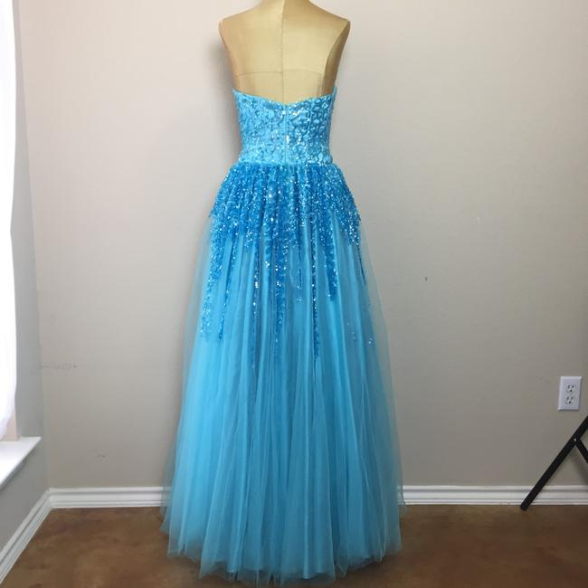 Nina Canacci Mesh Sequin Ball Gown Prom Strapless Dress Image 4