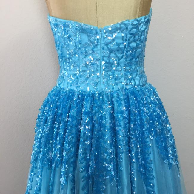 Nina Canacci Mesh Sequin Ball Gown Prom Strapless Dress Image 5