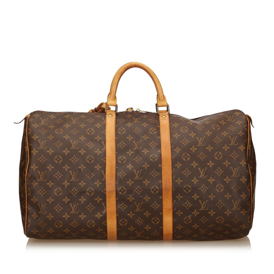 louis vuitton monogram keepall 55 brown travel bag on tradesy. Black Bedroom Furniture Sets. Home Design Ideas