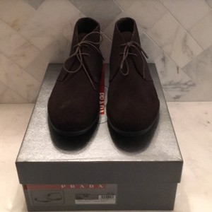 Prada Brown Men's Suede Lace Up Boot Shoes