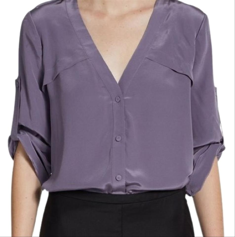 Bcbgmaxazria Plum Womens Purple Drew Storm Vented Silk Blouse