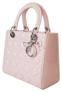 Dior Lady Lady Lady Lady Medium Lady Patent Tote in PINK