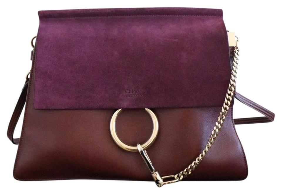 Shoulder Chole Purple Faye Suede Leather Bag Chloé 5X1B4Uqq