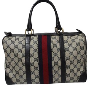 Gucci Satchel in navy blue red white