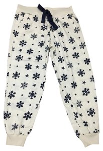 Aerie Pj Winter Christmas New Relaxed Pants White / Snowflake Print