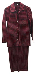 J.Crew Pj Pajama Flannel Soft Relaxed Pants Black / Red Gingham Print