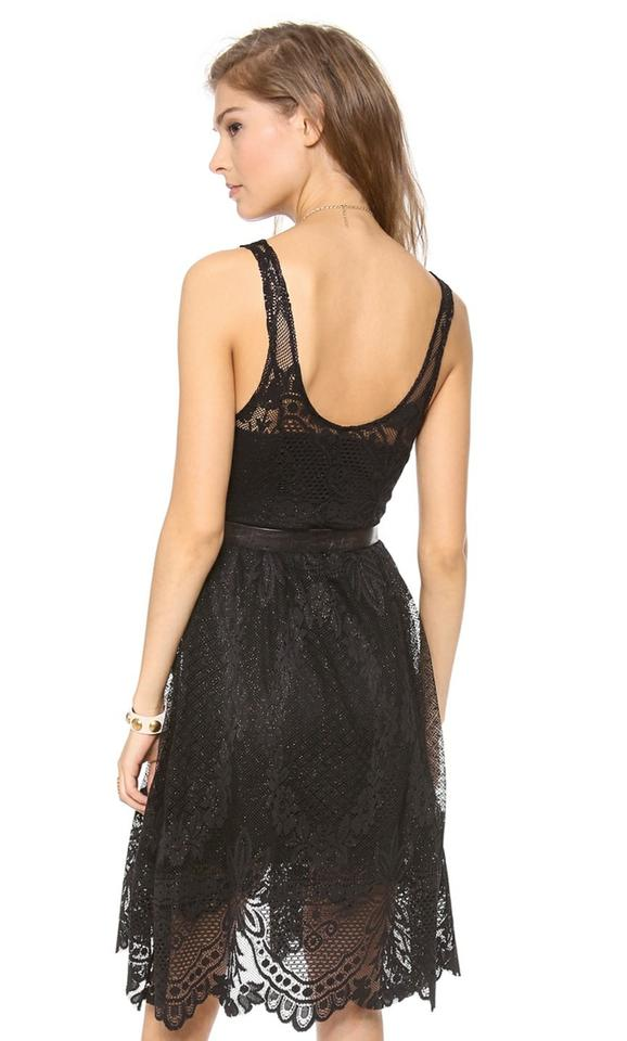 Free People Black Lace Foil Overlay Short Cocktail Dress Size 8 (M ...