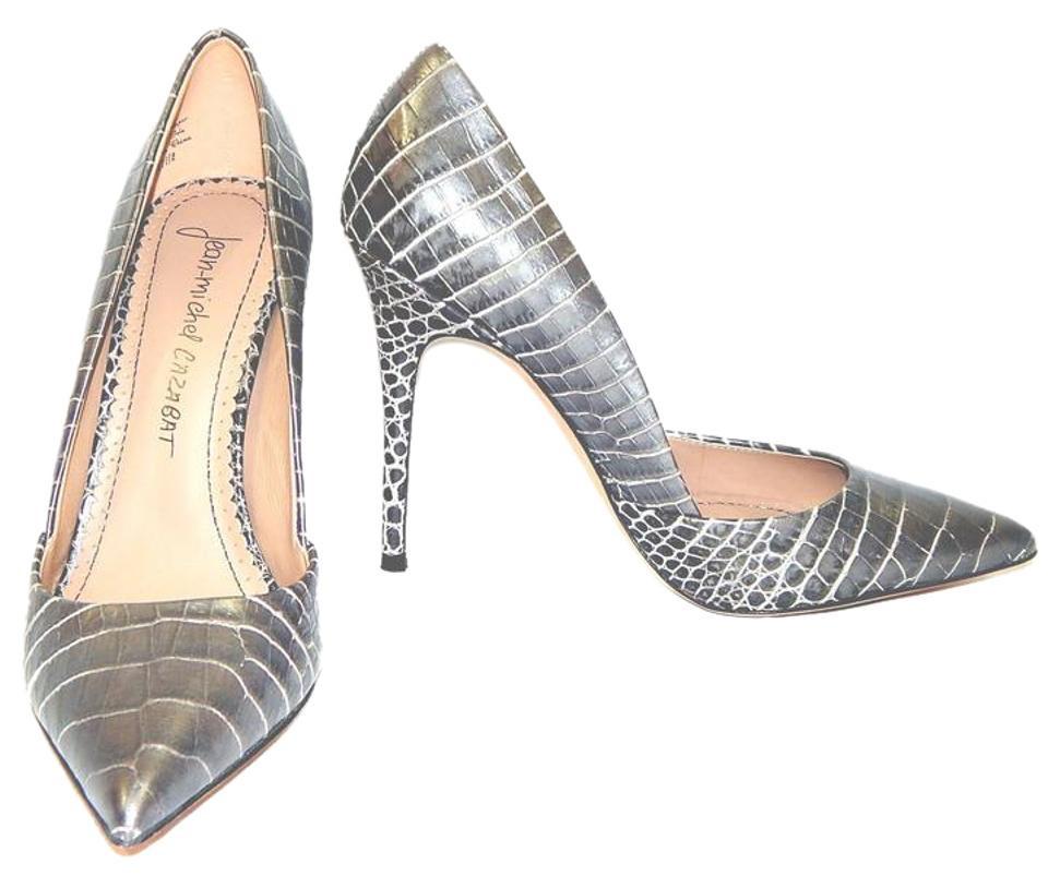 884cfb502f10 Jean-Michel Cazabat Silver Emma Croc-effect Pointed Toe Pumps. Size  EU  37.5 (Approx. US 7.5) Regular (M ...