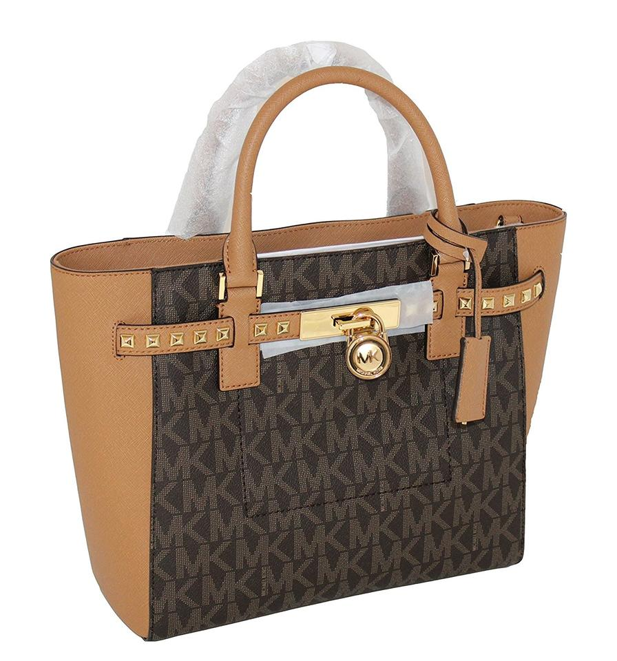 e6b4266d443b Michael Kors Women's Hamilton Traveler Studded Lg Tote Leather Handba Brown  / Acorn Satchel