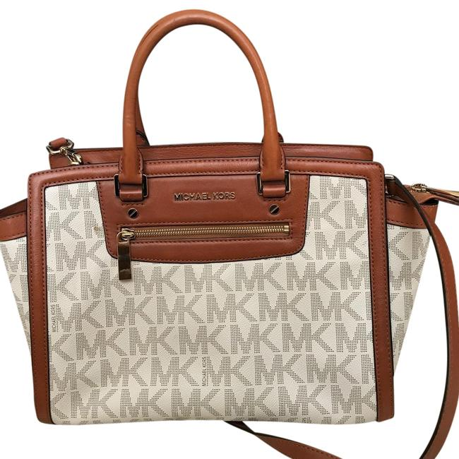 Item - Off White with Tan Leather Trim Coated Twill Satchel