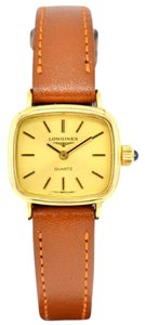 Longines Vintage Gold Plated Brown Leather Quartz Watch