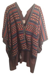 Quiksilver Poncho Knit Checkered Vintage Striped Sweater