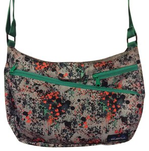 Kavu Splattered Paint Design on Lavender/Gray Background w/ Kelly Green Strap Messenger Bag