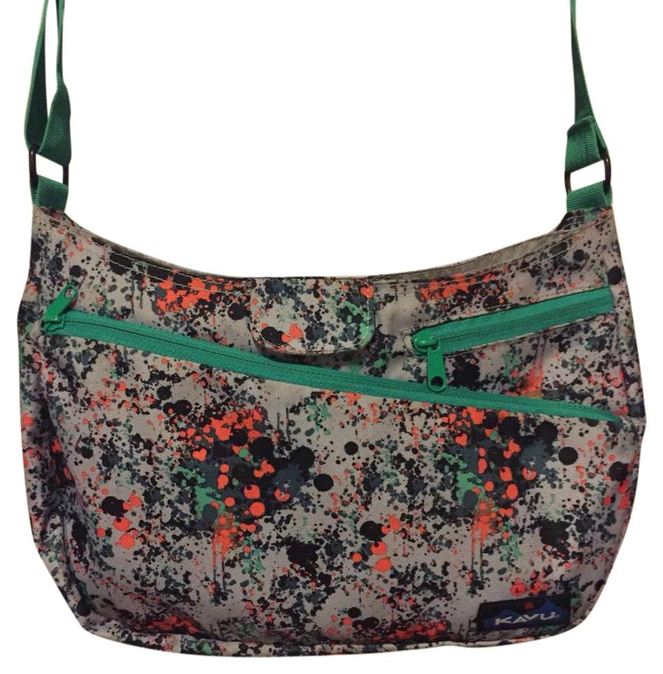 Kavu Splattered Paint Design On Lavender Gray Background W Kelly Green Strap Messenger Bag
