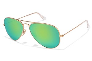 Ray-Ban Rayban Aviator Sunglasses RB302511219 Matte Gold Crystal Green Mirror