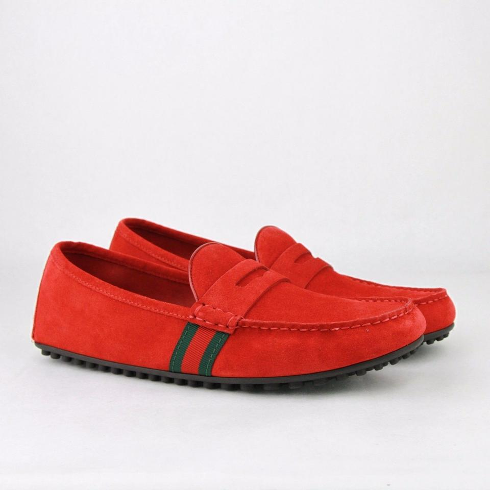 f3fde44b574 Gucci Red Suede Driver Loafer Grg Web Detail 8.5g   Us 9.5 407411 6460 Shoes