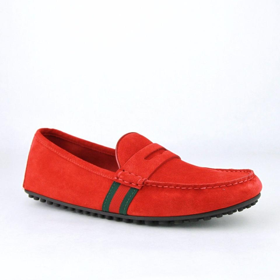 743c71827889 Gucci Red Suede Driver Loafer Grg Web Detail 10g   Us 11 407411 6460 Shoes
