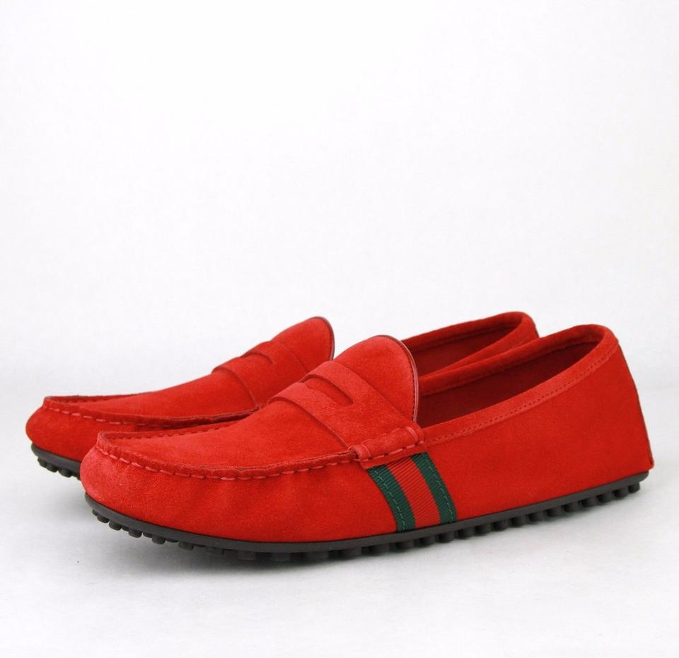 adbdf8558bb Gucci Red Suede Driver Loafer Grg Web Detail 10g   Us 11 407411 6460 Shoes  Image. 12345678