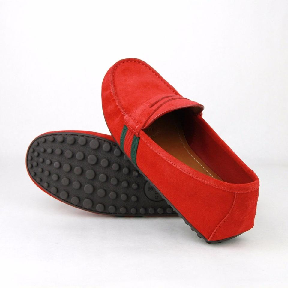 3b69e9327f0 Gucci Red Suede Driver Loafer Grg Web Detail 10g   Us 11 407411 6460 Shoes  Image. 12345678