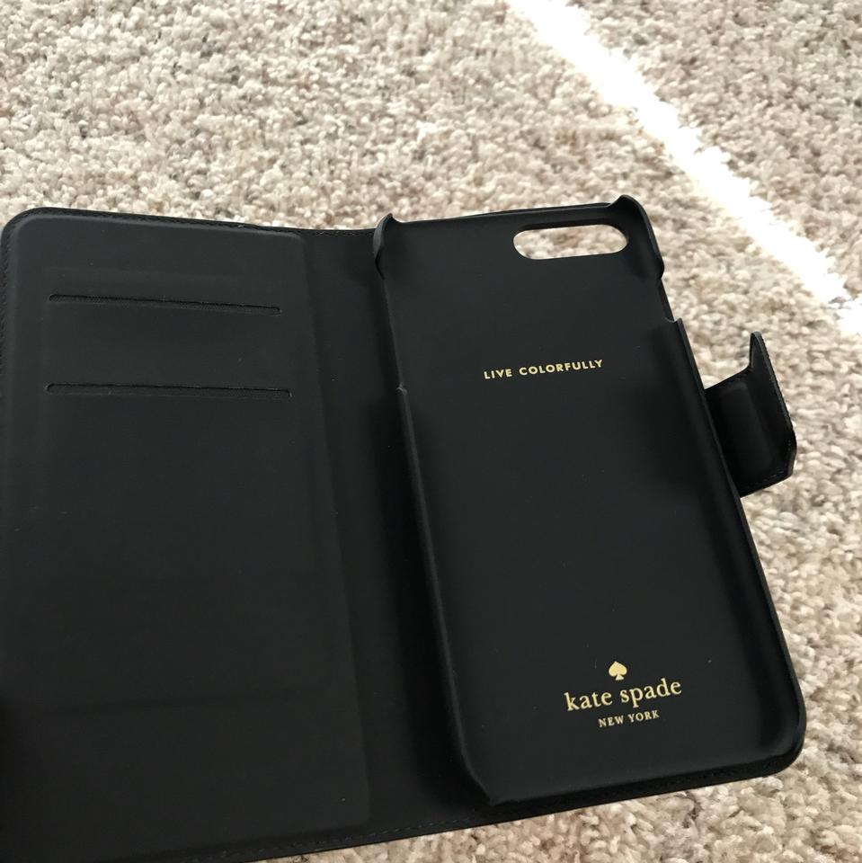 uk availability 2151d 75750 Kate Spade Blk/ Almnde Iphone 7 Plus Leather Wrap Folio Case Tech Accessory  23% off retail