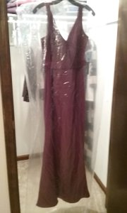 White By Vera Wang Wine Long V Neck Crepe Gown With Open Back White By Vera Wang Dress