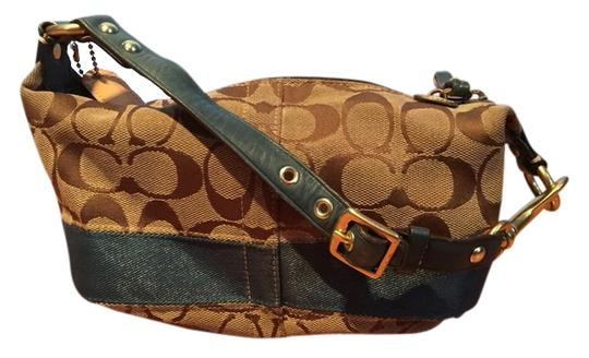 Preload https://item1.tradesy.com/images/coach-stripe-top-handle-pouch-khakiteal-signature-canvas-hobo-bag-2221850-0-0.jpg?width=440&height=440