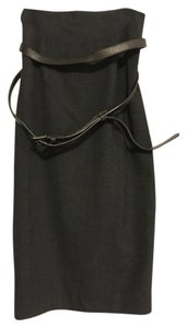 Robert Rodriguez Pencil Belted Stretchy Skirt Gray