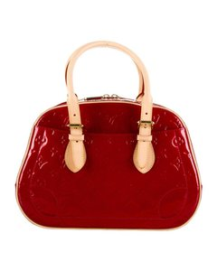 Louis Vuitton Vernis Summit Drive Vachetta Leather Tote in Red
