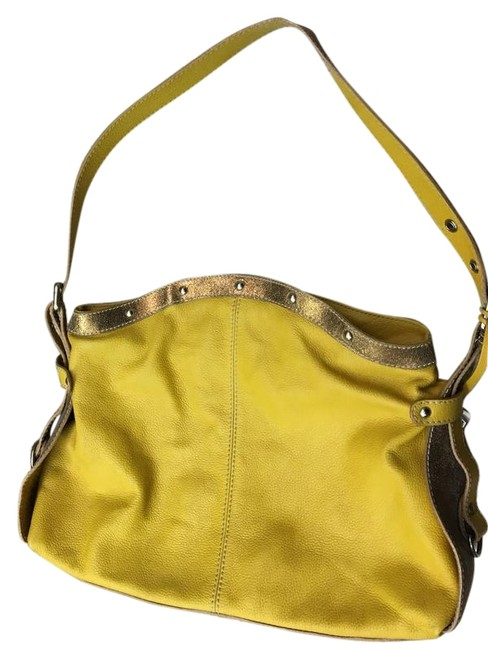Item - Two Tone Yellow and Gold Leather Hobo Bag