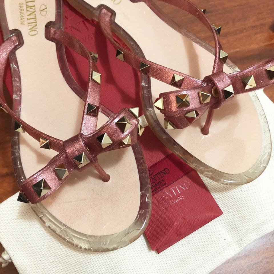 be411ce0dde7 Valentino Pink New 2018 Rockstud Jelly Red Rose Gold Glitter 39 Sandals  Size US 8.5 Regular (M