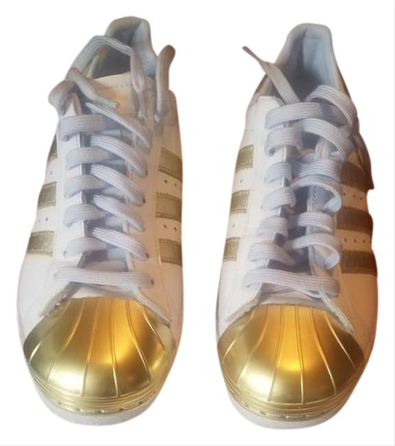 Item - White/Gold Shell Top Sneakers Size US 7.5 Regular (M, B)