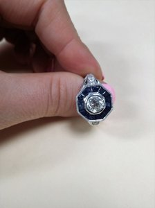 White Vintage and Antique Diamond with Sapphire Stones On The Side Engagement Ring