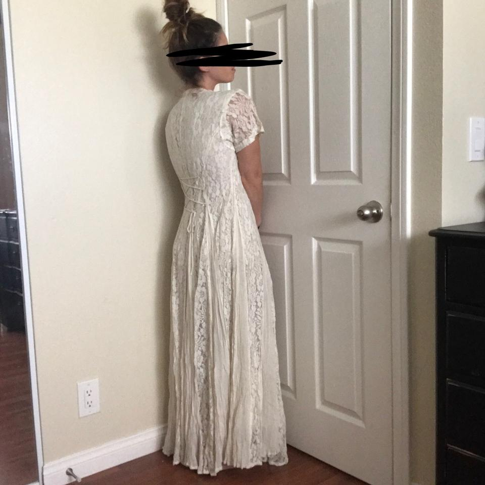 Cream Off White Lace Rayon Long By Vintage Wedding Dress Size 6 (S ...