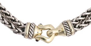 David Yurman Sterling and 14K Gold Two Tone Buckle Necklace