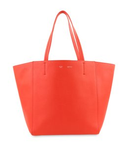 Céline Cabas Phantom Pebbled Calfskin Tote in Red