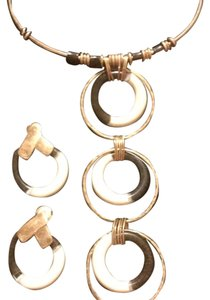 Robert Lee Morris Gold Tone Color block Necklace and Earrings