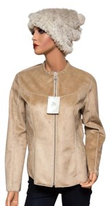Bogner Sherpa Micro-suede Faux Leather Embroidered Beige Jacket