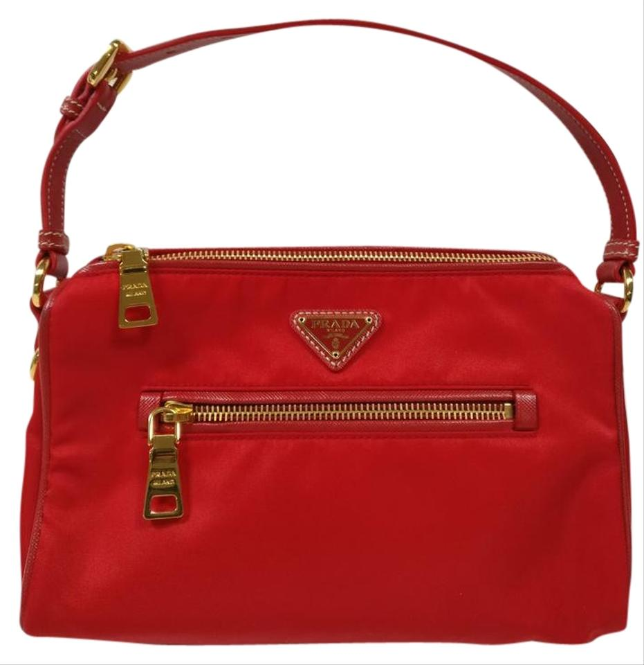 973ea811fea7 Prada New Bn1834 Nylon and Saffiano Leather Red Canvas Shoulder Bag ...