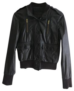 Roots Leather Black Jacket