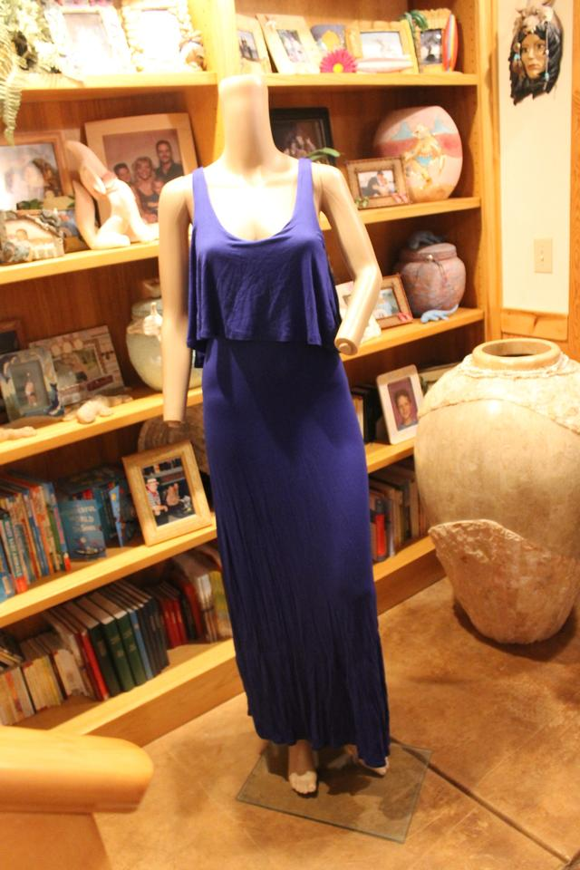 Ralph Lauren Indigo Blue (Spring Cannes Blue) Scoop Neck Full Length Formal  Dress 1f99dd8b2b7