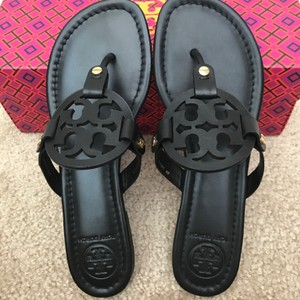 e15281e4c7888 Tory Burch Black Miller Flat Thong Sandals Size US 9 Regular (M