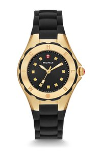 Michele $350 NWT Jelly Bean Petite Gold Navy watch MWW12P000012