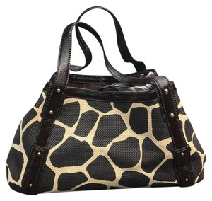 Banana Republic Giraffe Animal Print Formed Patent Leather Satchel in ivory, brown