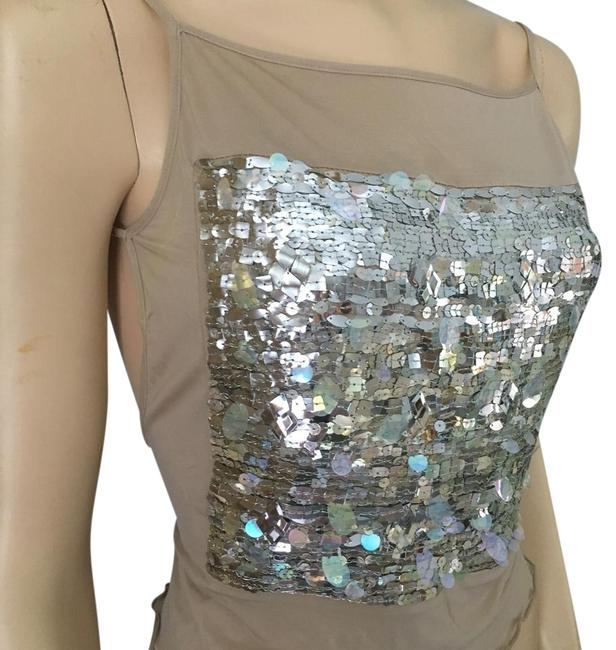 Item - Jeans Polyester Sequin Front Open Back Dressy Nude/Silver Top