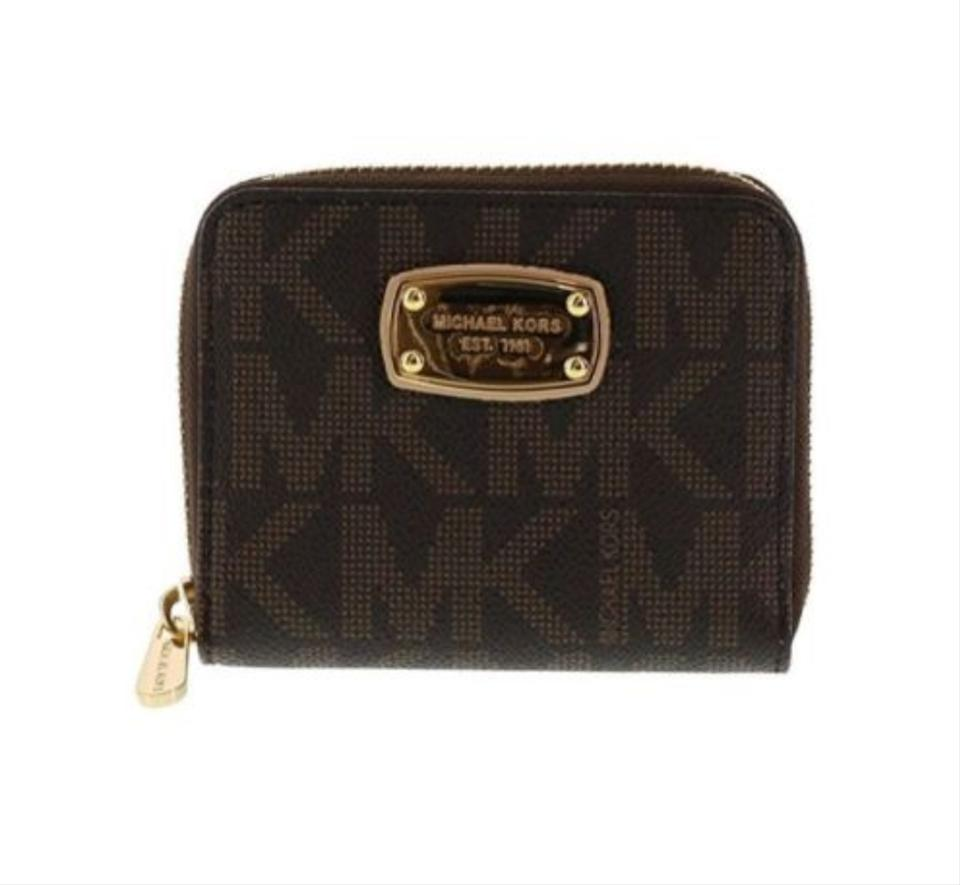 ddf6caf6bc7d Michael Kors Jet Set Mk Logo Bifold Wallet Brown Leather Wristlet - Tradesy