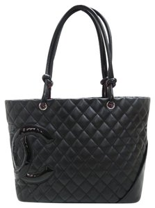 Chanel Cambon Ligne Lambskin Tote in black
