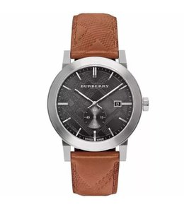 Burberry NEW Burberry Swiss Made Black Dial Brown Leather 42mm Watch BU9905