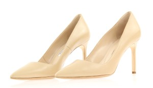 Manolo Blahnik Gold Beige Nude Pumps