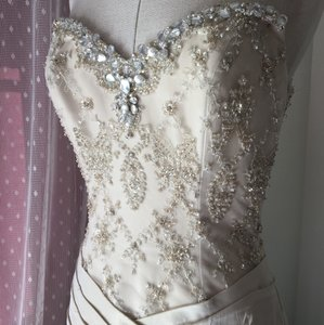 Anjolique Ivory/Champagne Organza Crystal Beaded Formal Wedding Dress Size 4 (S)