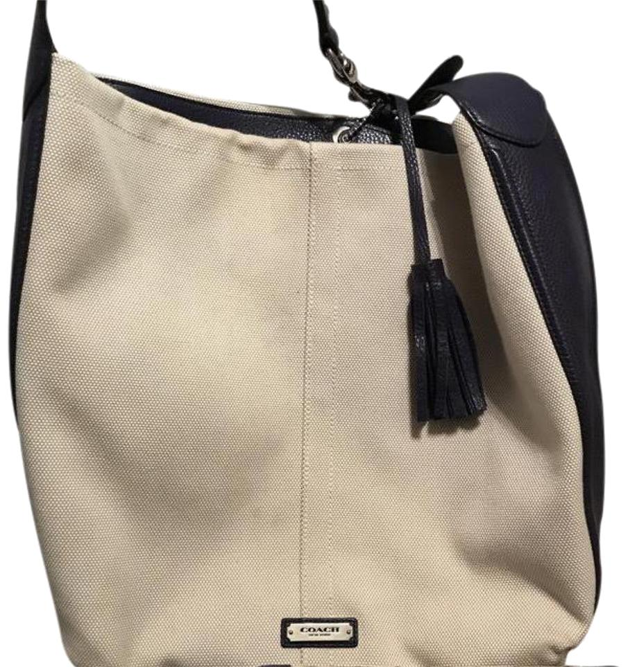 478335291 ... switzerland coach blue and tan fabric leather hobo bag tradesy 8d8d9  b4fd0